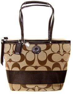 Coach Signature Stripe Lunch Shopper Bag Purse « Clothing Impulse