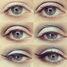 Step by step eye makeup - PICS. My collection Unique Makeup, Colorful Eye Makeup, Blue Makeup, Simple Makeup, White Eyeshadow, Eyeshadow Makeup, Eye Makeup Pictures, Makeup Pics, Makeup Ideas