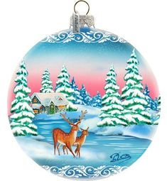 The Holiday Aisle Winter Forest Moose Glass Ball Ornament Holiday Splendor Collection Painted Christmas Ornaments, Hand Painted Ornaments, Holiday Ornaments, Christmas Decorations, Old World Christmas, Christmas Balls, Diy Christmas, Christmas Images, Ball Ornaments