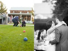 guests played bocce ball before the reception began