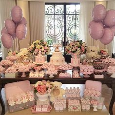 Ideas baby shower ideas decoracion candy bars teddy bears for 2019 Fiesta Baby Shower, Baby Shower Parties, Baby Showers, Candy Table, Candy Buffet, Desert Table, Girl Baby Shower Decorations, Baptism Party, Festa Party
