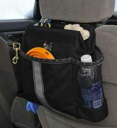 Doggie Organizer Car Bag holds food and all your dog accoutrements on your weekend getaways with your pet.