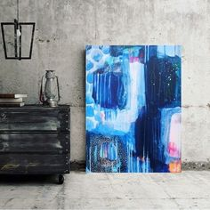 Blue abstract painting by Mette Lindberg. Www.mettesmaleri.dk