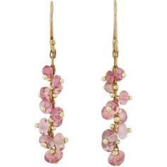 Ten Thousand Things Pink Sapphire & Gold Short Spiral Drop Earrings-Co (69.265 RUB) ❤ liked on Polyvore featuring jewelry, earrings, colorless, gold earrings, 18 karat gold earrings, gold spiral earrings, beaded drop earrings and yellow gold earrings