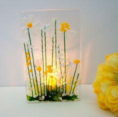 Glass Votive Candle Holders, Glass Tea Light Holders, Votive Candles, Surf Decor, Christmas Gifts For Friends, Fused Glass Art, Tea Lights, Daisy, Glass Lanterns