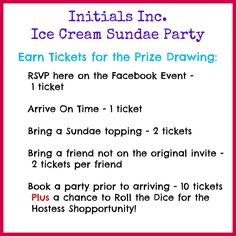 Graphic to post on a Facebook invite leading up to your Initials Inc. Ice Cream Sundae theme party.