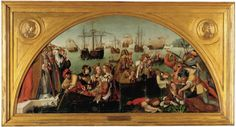 polyptych commissioned for the Madre de Deus Convent, now in the National Museum of Ancient Art, Lisbon, Portugal Religious Paintings, Sea Art, Spain And Portugal, National Museum, Ursula, Pilgrimage, Ancient Art, 16th Century, Sailing Ships