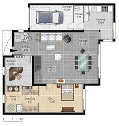Maison spacieuse et contemporaine - Détail du plan de Maison ...