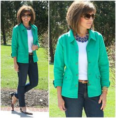 Feeling a little preppy today in a kelly green jacket from Stitch Fix. It's Day 24 of my 28 Days of Spring Fashion. #stitchfix #ootd #whatiwore #graceandbeautystyle #fashionover40 #springfashion