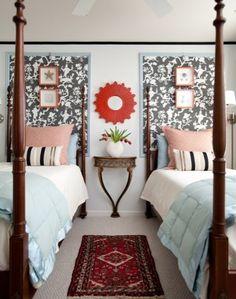 Framed fabric wall treatment (Shantung Silhouette 5005151 by Schumacher)