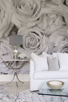 designed residence in the Hamptons gray wall mural - oh, but I love this!gray wall mural - oh, but I love this! Deco Pastel, Wall Design, House Design, Wall Wallpaper, Painting Wallpaper, Grey Rose Wallpaper, Wallpaper Paste, Wallpaper Ideas, Photo Wallpaper