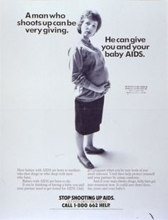 """1980s campaign posters   ... He Can Give You and Your Baby AIDS."""" Poster. Slide. 1 Image. [1980s"""