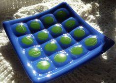 Handmade Fused Blue and Green Bump Dish  by goosecrossingfarm, $54.00  https://www.etsy.com/listing/182358897/handmade-fused-blue-and-green-bump-dish?
