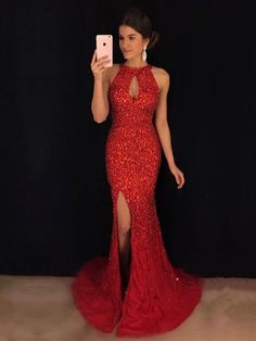 9a910a2594c Trumpet Mermaid Scoop Neck Tulle Sweep Train Beading Prom Dresses