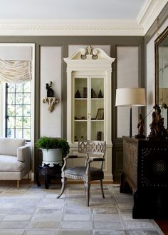 Throw out the rules when it comes to crown molding, and trimwork......    room by Windsor Smith