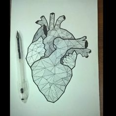 Geometric heart tattoo drawing