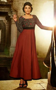 BLACK & RUST COTTON ANARKALI SALWAR KAMEEZ - DIF 29563