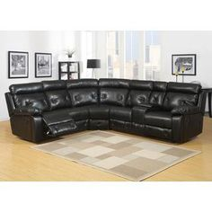 Black leather reclining sectional sofa Babe we need to get couches
