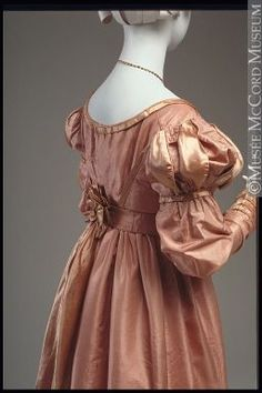 Dress  1823-1825, 19th century  Fibre: silk (taffeta, satin), cotton (lining); Sewn (hand)  M20555.1-2  © McCord Museum