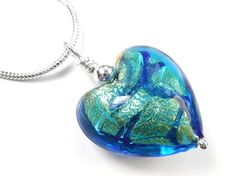 Murano Glass Heart Pendant Necklace - Turquoise Blue Heart Pendant Necklace, Murano Glass, Gold Leaf, Sterling Silver Jewelry, Hearts, Turquoise, Chain, Blue, Accessories
