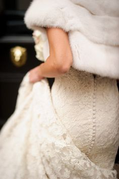 Winter white gown by Ines Disanto   photo by Brian Dorsey.