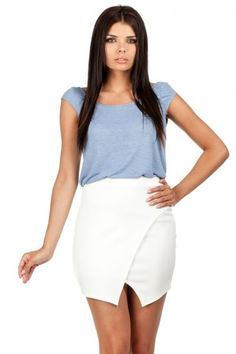 Mini skirt with a pencil fashion in shades of ecru