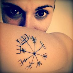"My Vegvisir. A Vegvisir is an Icelandic word literally meaning 'guidepost': It is a Norse protection symbol, intended to help the bearer find their way through bad weather. ""...if this sign is carried, one will never lose one's way… even when the way is not known.""   Piece done by Artist - Irish James @SinsOfStyle"