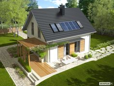 Projekt domu AC Lea (wersja A) CE - DOM - gotowy koszt budowy Solar Panel Cost, Solar Panels, Valparaiso Indiana, Landscaping Jobs, Interior And Exterior, Pergola, Places To Visit, Outdoor Structures, House Design