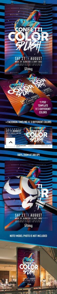 Buy Confetti Color Splash Flyer by feelsmart on GraphicRiver. Confetti Color Splash PSD Template Features: 2 PSD Files pixels inches with inch bleed area) Pr. August Colors, Music Flyer, Festival Flyer, Psd Flyer Templates, Dj Electro, Facebook Timeline Covers, Party Poster, Album Design, Party Flyer