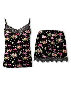 Look at this #zulilyfind! Black Flamingo Lace-Trim Pajama Set - Plus Too #zulilyfinds