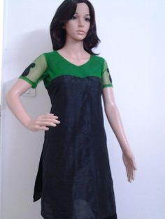 RAW SILK KURTI WITH NET YOLK AND SLEEVE. CHECK OUT: https://www.facebook.com/pages/Janns-Creations/726865744004090