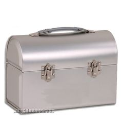 Silver Dome Lunchbox from Lunchboxes.com. I'd love to use one of these as a cosmetic case; my husband would like one to keep his lunch in (boooring).