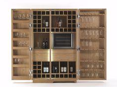 Meuble bar en bois massif CAMBUSA WINE