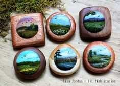 wearable landscapes - needle felted brooches by Lisa Jordan of lil fish studios