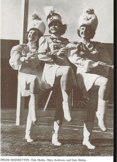 Drum majorettes for the University Band 1942-43.  From the 1943 Oregana (University of Oregon yearbook).  www.CampusAttic.com