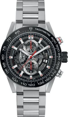 TAG HEUER Carrera stainless steel and ceramic chronograph watch Men's Watches, Casual Watches, Luxury Watches, Cool Watches, Elegant Watches, Wrist Watches, Retro Vintage, Tag Heuer Carrera Calibre, Skeleton Watches