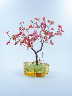 Peach Bonsai Wire Sculpture Tree  with Sea Bamboo by wireforest, $45.00