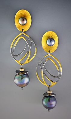 Royalty Earrings by Judith Neugebauer: Gold, Silver & Pearl Earrings available at www.artfulhome.com