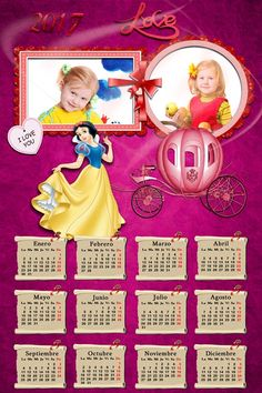 Calendarios para Photoshop: Calendario para el 2017 de Blancanieves para Photo...