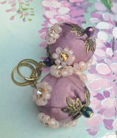 Lilygrace Lilac Silk and Bead Earrings with by LilygraceOriginals, $40.00