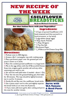 Recipe of the Week - Sept 26th - Cauliflower Breadsticks
