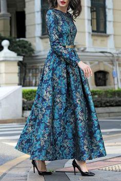 de33764cd04d Differentes Blue green Long Sleeve Jacquard Maxi Dress   Maxi Dresses at  DEZZAL Длинные Платья