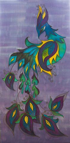 Original Batik Silk Painting Wall Hanging 15 by 30 by Katyasbatic Fabric Painting, Fabric Art, Painting Art, Phoenix Art, Batik Art, Textile Fiber Art, Thread Art, Silk Art, Weaving Art