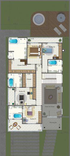 Projeto de sobrado de 4 quartos com 341,28m²