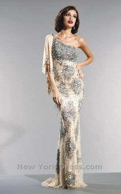 Delicately patterned one-sleeve gown by Nika