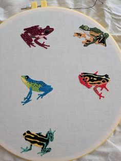 More frogs! Only 4 frogs + scientific names underneath left : Embroidery Embroidery Hoop Art, Hand Embroidery Patterns, Cross Stitch Embroidery, Cross Stitch Patterns, Embroidery Designs, Name Embroidery, Sewing Crafts, Sewing Projects, Art Du Fil