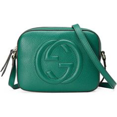 Gucci Soho Leather Shoulder Bag (€870) ❤ liked on Polyvore featuring bags, handbags, shoulder bags, emerald green, leather purses, embossed leather purse, gucci purse, blue handbags and genuine leather purse