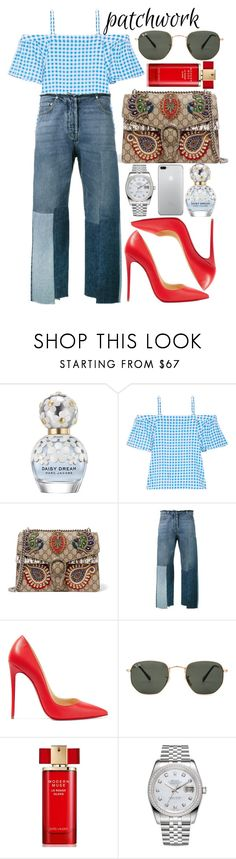 """All patched up: Patchwork"" by eiriniyiann ❤ liked on Polyvore featuring Marc Jacobs, Draper James, Gucci, Valentino, Christian Louboutin, Ray-Ban, Estée Lauder and Rolex"
