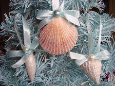 Natural Seashell Christmas Ornaments - Click Image to Close