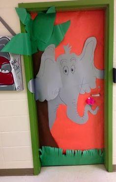 Dr Seuss classroom door- Horton hears a Who